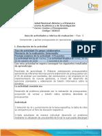 Guia de actividades y Rúbrica de evaluación - Fase 3 Comprender y aplicar presupuestos en operaciones y recursos