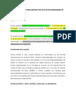 NIA 805 - 1 elemento específico de 1 est. financiero - Marco de información con fines especificos - Énfasis Base contable y restricción