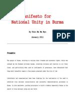 01feb11 Manifesto for National Unity engl. by Khin Ma Ma Myo