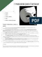 Cómo Hacer Mascaras Para Carnaval