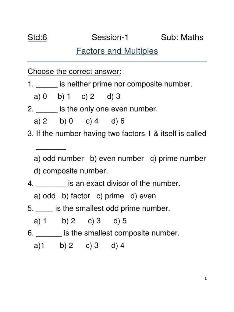 Std 6 Maths Sess 1 Mcq [ 1024 x 768 Pixel ]