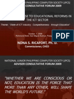cheds response to educational reforms in the ict sector ppt