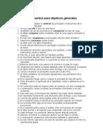 Oraciones con verbos para objetivos generales y especificos