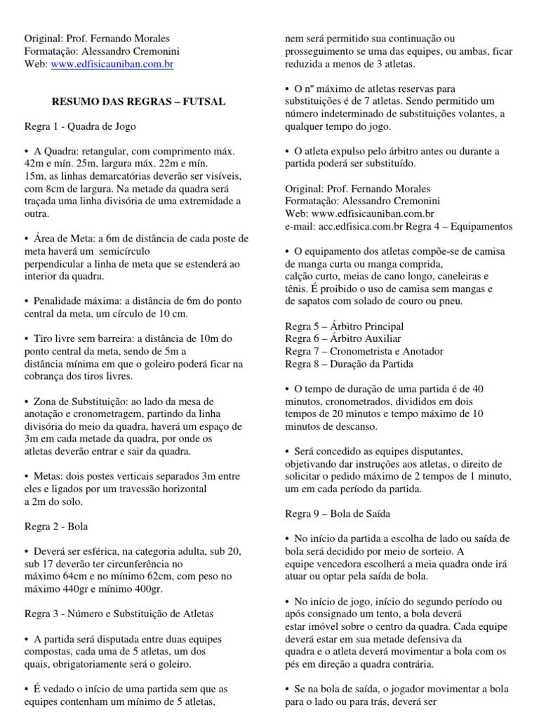 Resumo Regras Oficiais Do Futsal 3faabc9db05cf