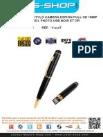 Mode d'emploi Stylo camera espion Full HD 1080p appareil photo USB Noir et Or