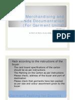 Export Merchandising and Merchandising for (Garment Units) # 3