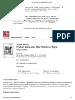 Fredric Jameson_ The Politics of Style on JSTOR