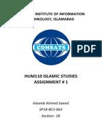 Islamic Studies Assignment1