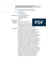 Towards a framework for knowledge management in project management