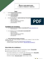 Pieces complementaires Université Victor Segalen Bordeaux 2