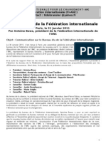 2011 - Message No1 - President Federation Inter Nationale ANC du 31 Janvier