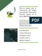 Plan de manejo para la conservación del bosque reservado de la Universidad Nacional Agraria de la Selva