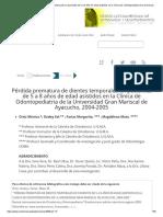 Pérdida prematura de dientes temporales en pacientes de 5 a 8 años de edad asistidos en la Clínica de Odontopediatria de la Universidad Gran Mariscal de Ayacucho, 2004-2005.pdf