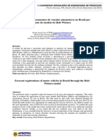 Previsão dos emplacamentos de veículos automotores no Brasil por meio do modelo de Holt-Winters