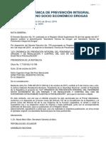 Ley Orgánica de Prevención Integral del Fenómeno Socio Económico de las Drogas y de Regulación y Control del Uso de Sustancias Catalogadas Sujetas a Fiscalización  13 agosto 2020
