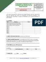 IN-P01-F01 FORMATO PRESENTACION PROYECTO DE INVESTIGACION
