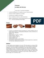 Metais e ligas não ferrosas - Cobre