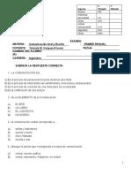 EXAMEN DE COMUNICACIÓN ORAL Y ESCRITA PRIMER PARCIAL
