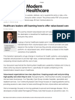 Healthcare leaders still learning how to offer value-based care