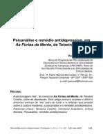 Psicanálise e remédio antidepressivo, em As Fúrias da Mente, de Teixeira Coelho