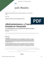 «Bolivarianismos» y Fuerza Armada en Venezuela
