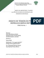 ENSAYO DE TENSIÓN EN PRENSA HIDRÁULICA MARCA INSTRON