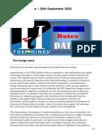 The HINDU Notes  25th September 2020
