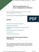 Requisitos do sistema para instalar o Windows 10