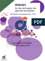 BSBRSK401 - Student Assessment Tasks