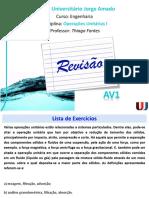 Aula 05 - Operações Unitárias - Revisão AV1