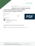 Activité antioxydante et anti-candidosique de l huile essentielle de Laurus nobilis L.
