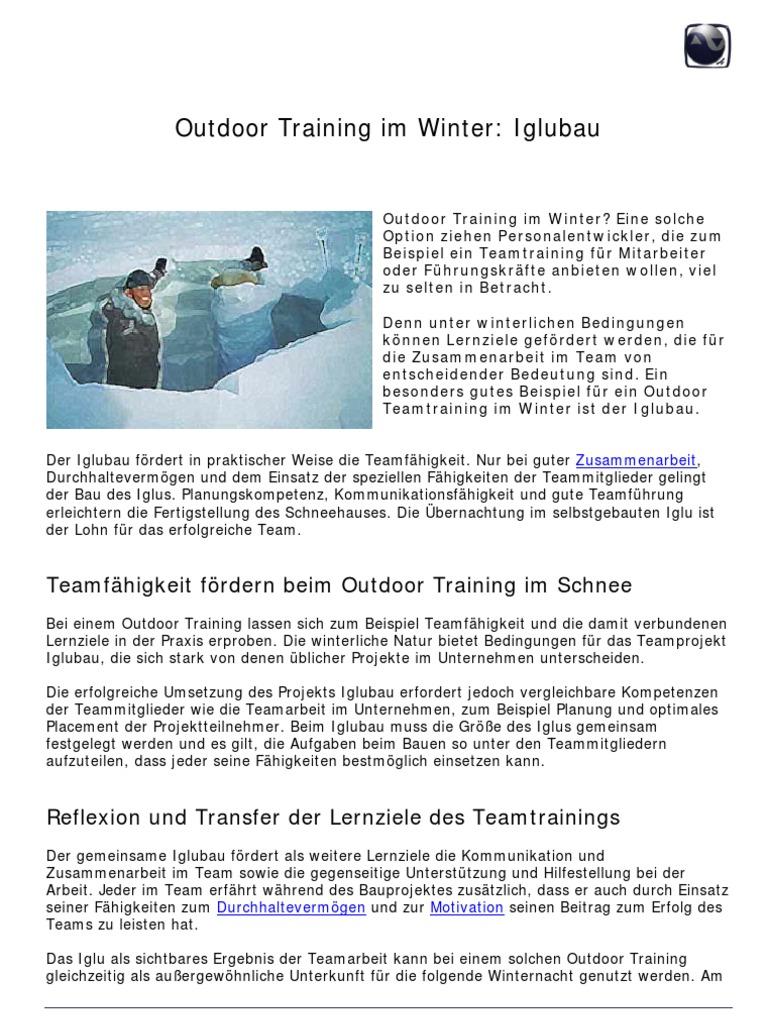 outdoor training als teamtraining im winter iglubau - Teamfahigkeit Beispiel