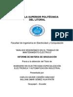 Analisis ergonomico en el trabajo de mantenimiento electric