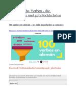 100 deutsche Verben - die wichtigsten und gebräuchlichsten
