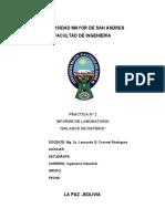 Informe  BALANCE DE MATERIA