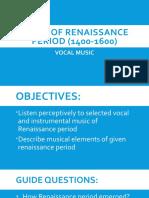 2Music of renaissance period (1400-1600) 2nd