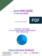Lista proiectelor PARȚ 2020, implementate la date de 17 octombrie 2020