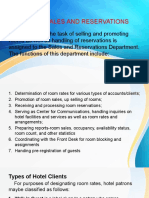 Functions of Sales and Reservations Department