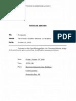 Thousand Island Bridge Authority Meeting Notice - October 23, 2020