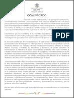 Comunicado del Ministerio de Salud de Bolivia