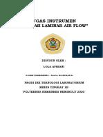 MAKALAH  INSTRUMEN LAMINAR AIR FLOW(LOLA APRIANI TLM TINGKAT 1B)