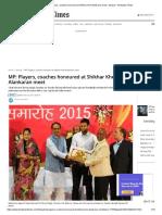 MP_ Players, coaches honoured at Shikhar Khel Alankaran meet - bhopal - Hindustan Times