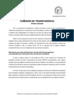 Primer Informe Comisión de Transparencia
