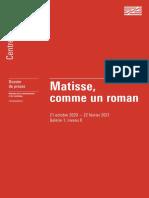 Exposition Matisse, comme un roman