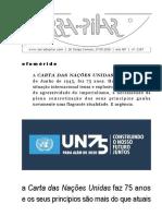 2187 - A Carta das Nações Unidas faz 75 anos