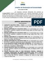 IDE 009/20 Informativo de Declaração de Exclusividade INBRATERRESTRE