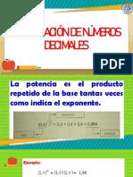 Potenciación de números decimales