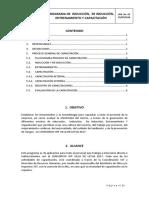 PROGRAMA DE  INDUCCIÓN,  RE INDUCCIÓN, ENTRENAMIENTO Y CAPACITACIÓN