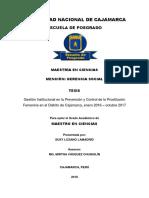 Gestión Institucional en la Prevención y Control de la Prostitución Femenina en el Distrito de Ca