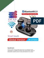 Manual do Fone Y30